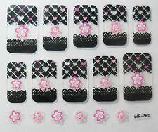 Accessoire ongles : nail art- Stickers autocollants - motifs coeurs et fleurs