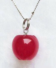 Pretty Red Jade White Gold Plated Apple Pendant and Necklace