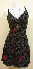 Rockabilly Black Dresses SKULL Black Dress EMO Print Rock Women PUNK Mini Size M