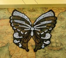FD3621 Black Lace Butterfly Sequin Patch Embroidery Cloth Collar Dress Patch