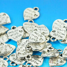 "Lots 50 Silver Plated MADE WITH LOVE Heart Charms 0.35"" Pendants Beads DIY"