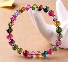 6MM Genuine Natural Colorful Tourmaline Gemstone Beads Stretchy Bracelet 7.5''