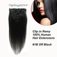 """15"""" Straight Clip In 100% Real Remy Human Hair Extension Fashion Off Black 7pcs"""