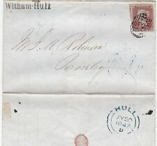 * 1847 WITHAM HULL SUB PO PMK LETTER SISSONS BROS BILL FOR TURPENTINE   BEVERLEY