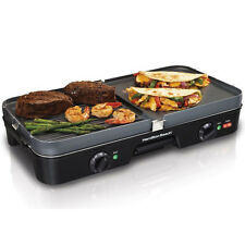 3-in-1 Indoor Electric Grill & Griddle, 180 Sq. In. Large Countertop Two Plate