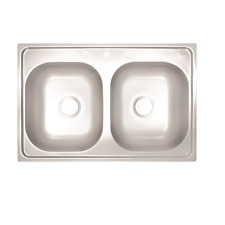 Proplus 3-Hole 2474253 Double Bowl Kitchen Sink 24-Gauge Stainless 33X19X6 IN.
