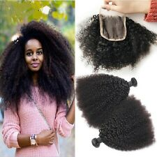 8A 300g/3bundles Unprocessed Brazillian Afro Kinky Curly Human Hair With Closure