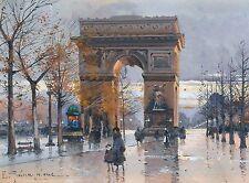 Arc de Triomphe Paris France Travel Advertisement Poster Eugène Galien-Laloue