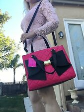 Betsey Johnson Satchel bag Fuchsia bow pink black quilted shoulder tote
