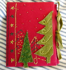 Christmas Photo Album Embroidery Beads Applied Trees 5X7 New