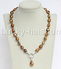 "natural 19"" 15mm Baroque coffee freshwater pearls necklace 18KGP j11803"