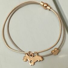 Leather Bracelet With Rose gold Plated Scottie dog & heart. Gift. New. Magnetic
