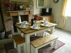 Shabby Chic farmhouse contemporary pine table and chairs / benches