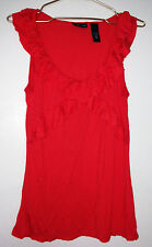NWOT NEW YORK & Co. Red Orange Ruffled Sleeveless Top Sz M Medium