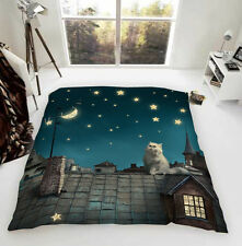 Cat Starry Night Luxury Fleece Blanket Throw UK Made Gifts for Cat Lovers