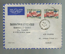 1939 Tunis Tunisia First FLight Cover to Damascus Syria FFC