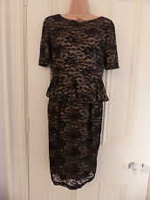 Lovely M&S Woman gold lined black lace dress tiered skirt around waist UK 12