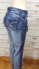 Amethyst Mid Rise Body Con Skinny Acid Washed Whiskered Lizzy JR Jeans 13  NWT