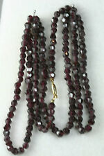 ANTIQUE HAND CUT 5MM GARNET BEAD NECKLACE 32 INCH 220 CARATS