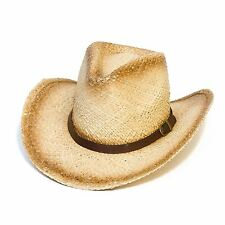Cowboy Stetson Style Summer Hat with Faux Leather Band (Beige, 60 cm)