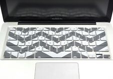 "Chevron Series Soft Gray n White Silicone Keyboard Cover for Macbook 13"" 15"" 17"""