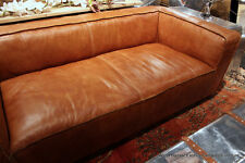 "90"" Sofa Vintage brown soft Italian glove leather double reverse stitch"