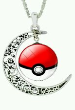 Hot NEW Pokemon Pokeball Moon Necklace Silver Chain Pikachu Eevee Pokémon Go USA