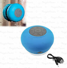 Waterproof Bluetooth Wireless Stereo Speakers with Bulit-in Mic Suction Cup Blue
