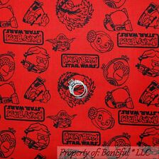 BonEful FABRIC FQ Cotton Quilt Red Black Angry Bird Star Wars Sm Word Super Hero