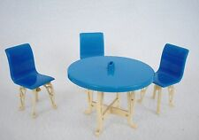 Vintage Plasco Dollhouse Miniatures Blue & White Patio Furniture Set Lot
