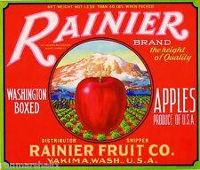 Yakima Washington Mt. Mount Rainier Apple Fruit Crate Label Art Print