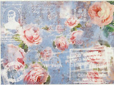 Ricepaper/ Decoupage paper,Scrapbooking Sheets/Craft Paper Roses on Blue