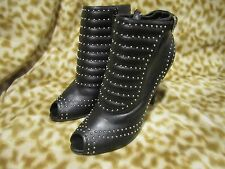 ALEXANDER MCQUEEN WOMENS BLACK LEATHER STUDDED BOOTIE SHOE HEEL PEEP TOE 41 / 11