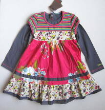 "NWT Catimini Girls 6 Yrs Pink Floral Striped Layered-Look ""Spirit Denim"" Dress"