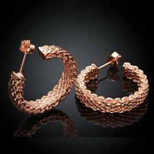 18K Rose Gold Latch Back Hoop Bali Earrings L123