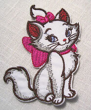 ÉCUSSON PATCH thermocollant - CHAT BLANC MARIE NOEUD ROSE ** 6 x 8 cm **