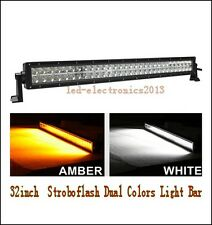 30Inch Dual Color Amber/White Stroboflash Led Remote Light Bar Offroad 4x4 Truck