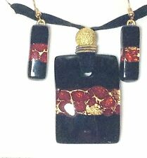 BLACK RED GOLD AUTHENTIC VENETIAN MURANO GLASS NECKLACE EARRINGS JEWELRY SET 4MG