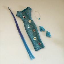 BARBIE DOLL CLOTHES Glittery Blue Cool Clips Dress Shoe Hair Extension Necklace