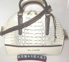 New Brahmin Hudson Satchel Fossil Tri-Texture Ivory & Brown Leather Bag NWT $375