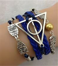 NEW Infinity Owl Antique Silver Leather Charm Bracelet