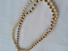 Vintage Akoya Pearls w/ Amethyst Double Strand Necklace 14K Filigree Gold Clasp