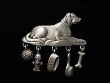 """JJ"" Jonette Jewelry Silver Pewter 'LABRADOR DOG' with Charms Pin ~ Dog Lover"