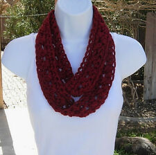 SUMMER SCARF Infinity Loop, Dark Solid Red, Small Skinny Crochet Knit Necklace