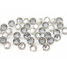 100 Pcs Plastic Crystal Clear Rhinestone Shank Buttons Scrapbooking Sewing Craft