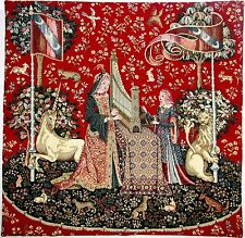"CLUNY LADY & THE UNICORN THEME, LADY & THE ORGAN 22"" TAPESTRY CUSHION COVER"