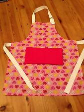 Personalised Childrens Apron (Cute Heart Design Fabric) - Larger Size