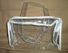 WOMEN'S CLEAR PURSE HANDBAG WITH WHITE TRIM, (Need a clear bag 4 work?) NWOT