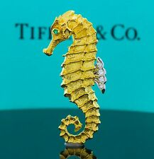 RARE Vintage Tiffany & Co 18K Gold Diamond Emerald Seahorse Pin Brooch Germany