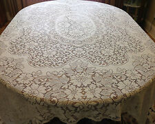"""Stunning-Vintage Ivory Quaker Lace Tablecloth-Picot Loops-# 856-Size-84"""" x 62"""